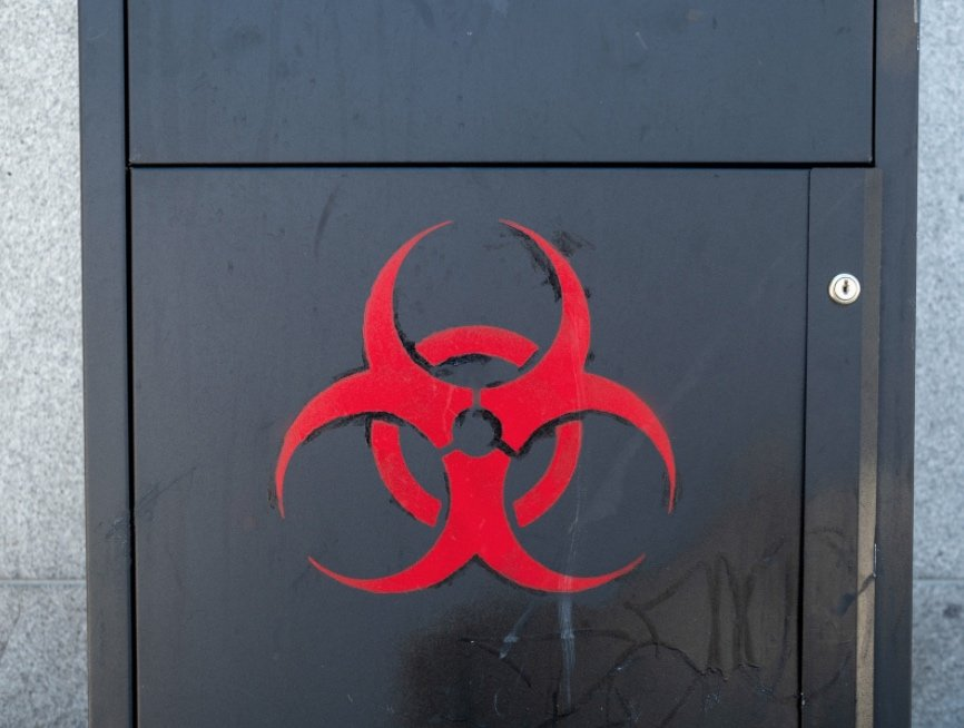 Biohazard on steel container